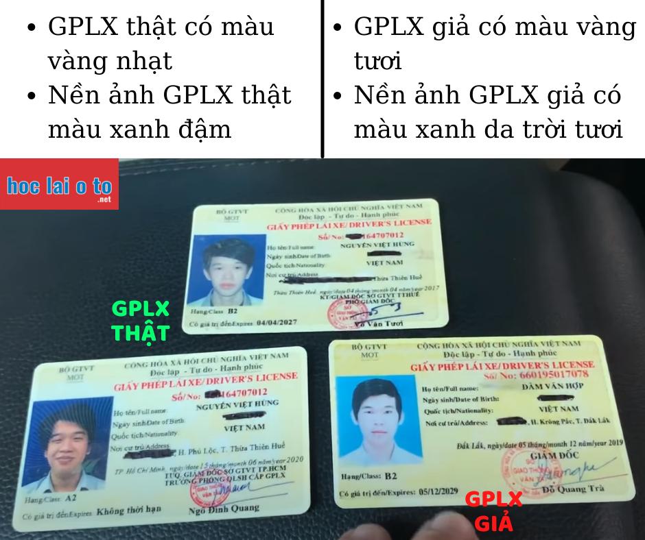 Phân biệt GPLX thật giả